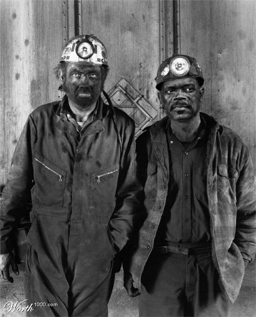Coal miners after work