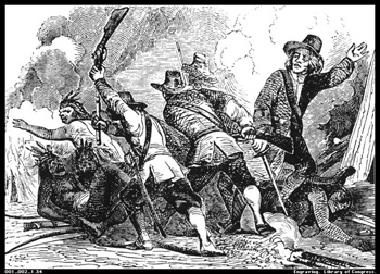 European colonists attack the Pequot village