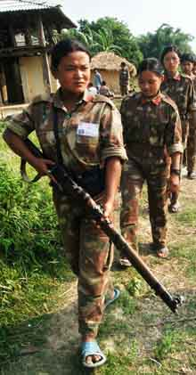 Fighters of the Peoples Liberation Army in Nepal