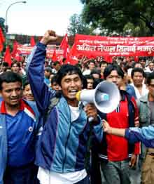 Nepal Maoists Street Demonstration in Katmandu