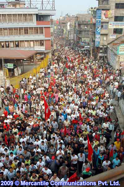 A huge Maoist-led march demanded the resignation of Army head, April 27