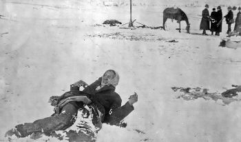 Big Foot, among the many dead at the Wounded Knee Massacre, 1890