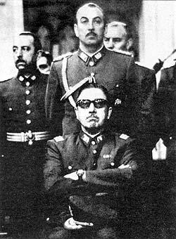 The fascist Chilean junta, 1973, General Pinochet (center bottom)