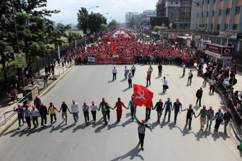 People's Volunteers march through Kathmandu, 2012