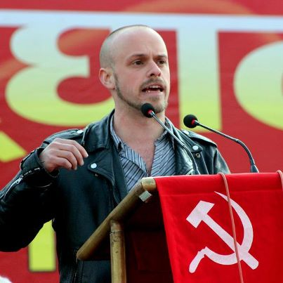 Liam Wright, participant in the Kasama project,  speaking at the opening of the national congress of Communist Party of Nepal-Maoist